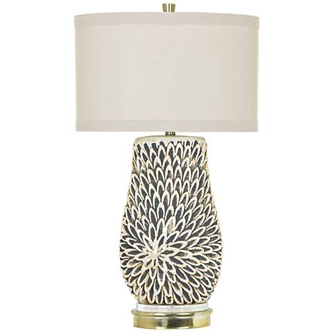 Crestview Collection Sierra White Pearl Ceramic Table Lamp