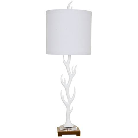 Crestview Collection White Flame Glossy Table Lamp