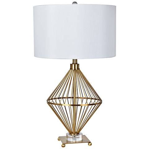 Crestview Collection Trina Brass and Crystal Table Lamp
