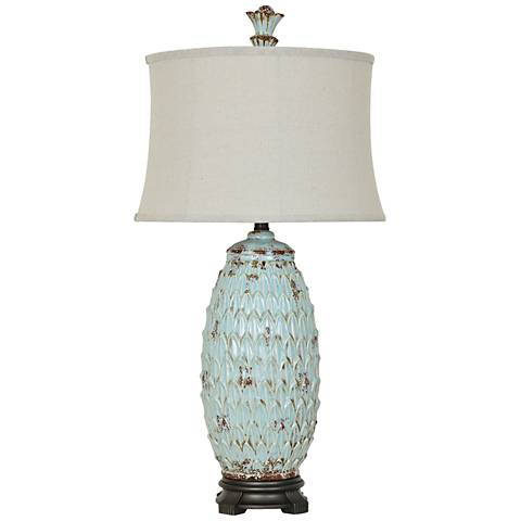 Crestview Collection Colony Antique Blue Ceramic Table Lamp