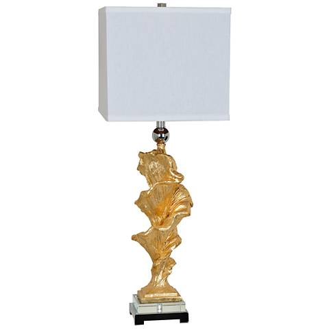 Crestview Collection Wynn Gold Leaf and Crystal Table Lamp