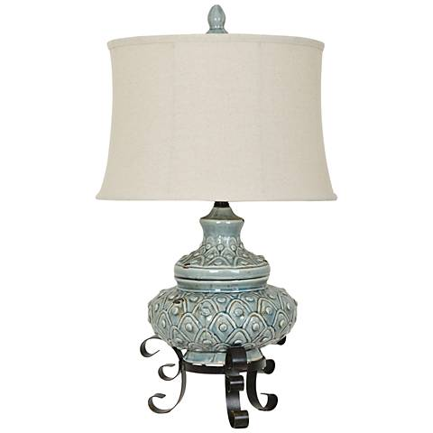 Crestview Collection Alden Antique Blue Ceramic Table Lamp