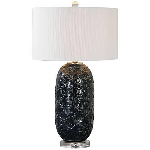Uttermost Kallithea Deep Blue Embossed Ceramic Table Lamp