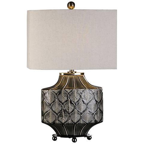 Uttermost Kavala Crackled Charcoal Gray Ceramic Table Lamp