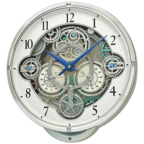"Gizmo White 16 1/4"" High Gear Wall Clock"