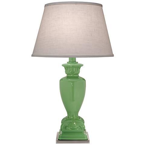 Stiffel Glossy Light Green Metal Urn Table Lamp