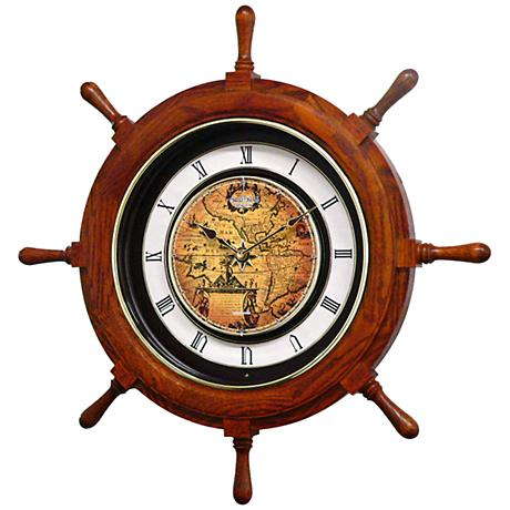 """Voyager Classic Oak Ships Wheel 25"""" Round Motion Wall Clock"""