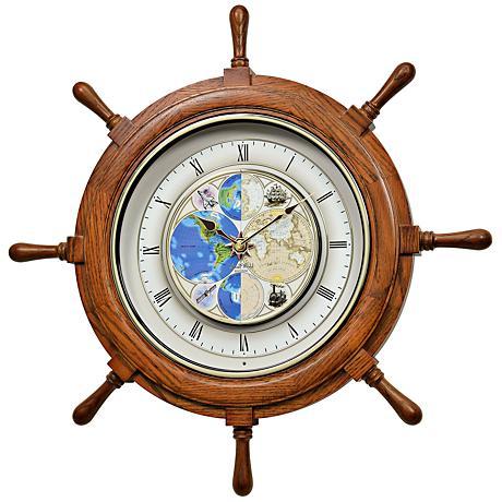 "Time Trip Oak Ships Wheel 25"" Round Motion Wall Clock"