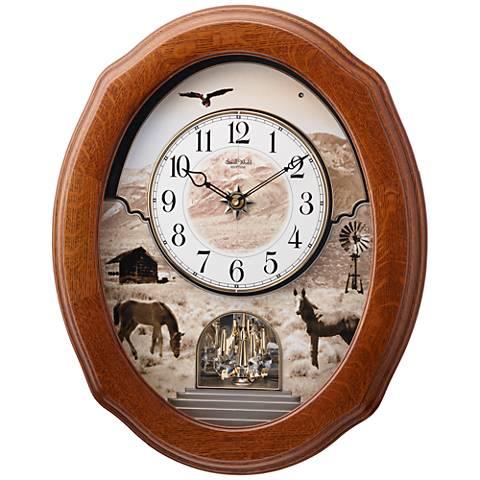 """American Prairie 20 3/4"""" High Oak Motion Wall Clock"""