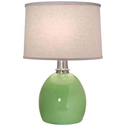 Stiffel Glossy Light Green Round Table Lamp