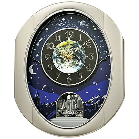 "Peaceful Cosmos II Silver 18 1/2"" High Motion Wall Clock"