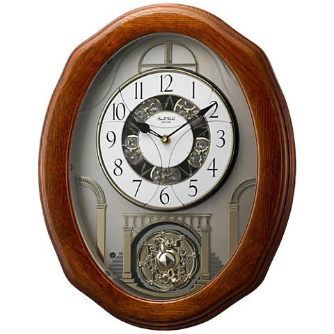 "Joyful Glory Oak 19 3/4"" High Motion Wall Clock"