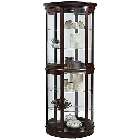 Lyon Warm Cherry Wood Half Round Curio
