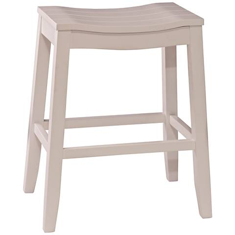 "Hillsdale Fiddler 24"" White Wood Rectangular Counter Stool"