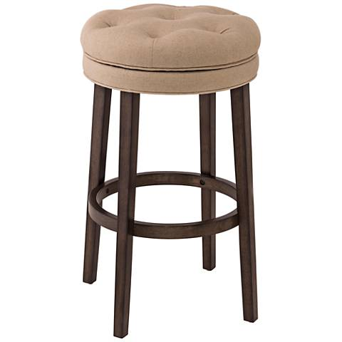 "Krauss 25 1/2"" Linen Stone Fabric Swivel Counter Stool"