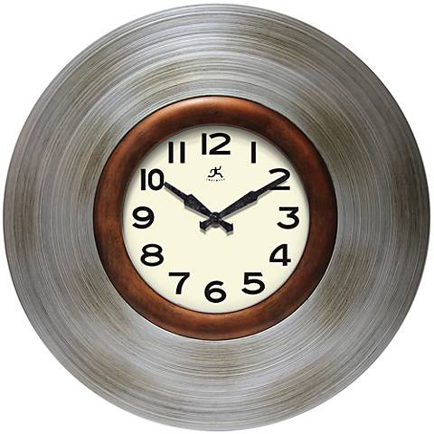 "Sterling Brushed Pewter 22"" Round Wall Clock"