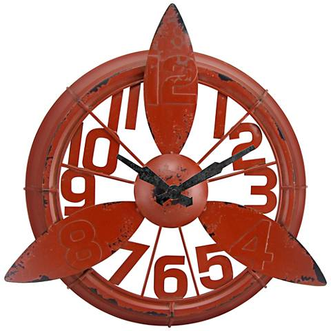 """Propeller Red 16"""" Round Wall Clock"""