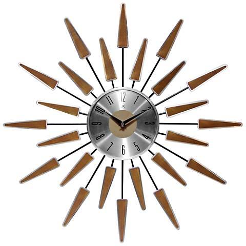 """Satellite Walnut Starburst 23"""" Round Wall Clock"""