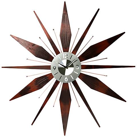 "Utopia Walnut Starburst 31"" Round Wall Clock"