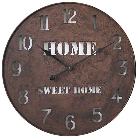 "Orson Metal Home Sweet Home Brown 24"" Round Wall Clock"