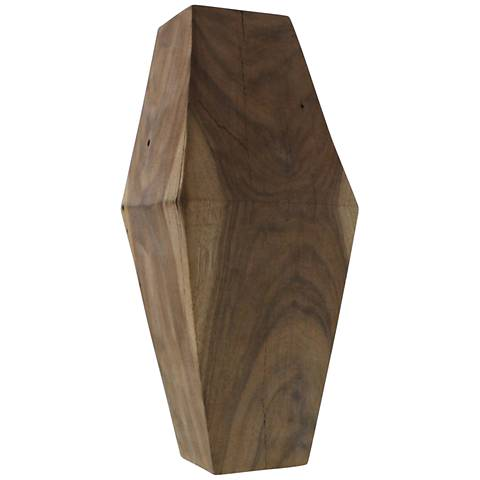 "Faceted Wood Object 15"" High Decorative Sculpture"