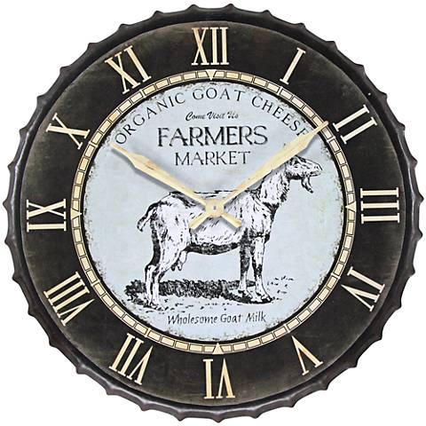 "Goat Market Black 23 1/2"" Round Wall Clock"