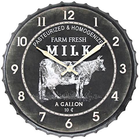 "Farm Fresh Milk 24"" Round Battery-Powered Wall Clock"