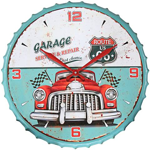 """Route 66 Multi-Color Blue 24"""" Round Wall Clock"""
