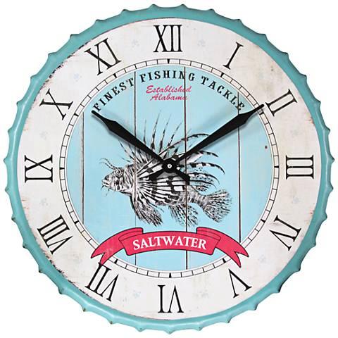 "Saltwater Fishing Light Blue 23 3/4"" Round Wall Clock"