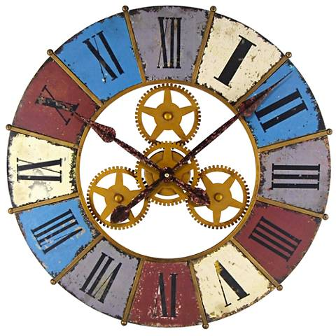 "Kaleidoscope with Gears Multi-Color 24"" Round Wall Clock"