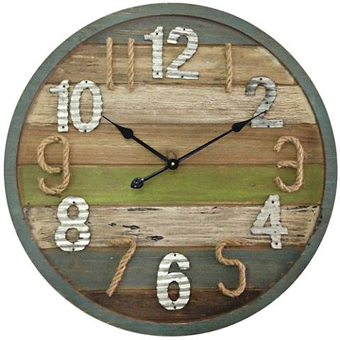 "Carson Multi-Color Wood 27 1/2"" Round Wall Clock"