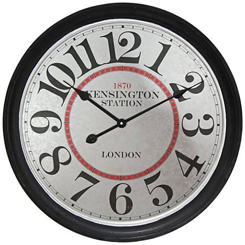 "Kensington Station Black 23 1/2"" High Wall Clock"