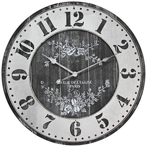 "Rue De L'Elise Black 26 3/4"" Round Wall Clock"
