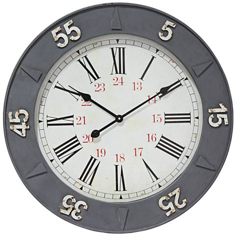 "Rex Metal 24 Hour Gray 26 1/2"" Round Wall Clock"