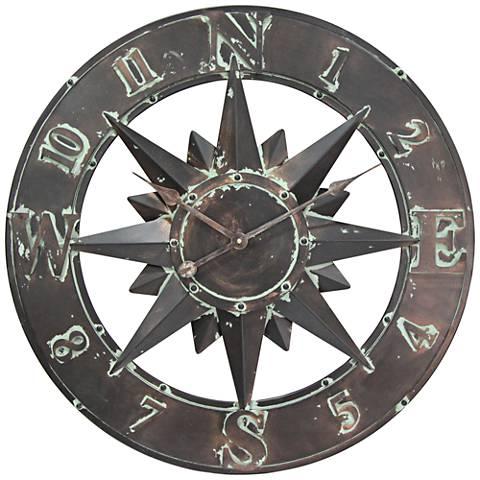 "Cardinal Sunburst Copper Patina 26 3/4"" Round Wall Clock"