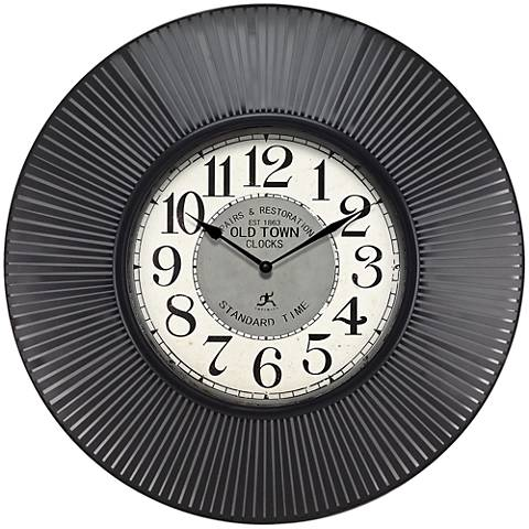 "Old Town Standard Black 31 1/2"" Round Wall Clock"