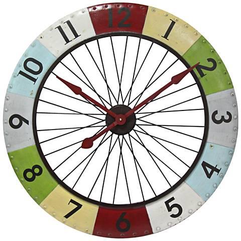 "Colorwheel Spoke Multi-Color 31 1/2"" Round Wall Clock"