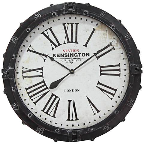"""Incline Station Black 31"""" Round Wall Clock"""