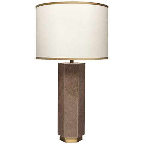 Jamie Young Paloma Taupe Leather Hexagonal Table Lamp