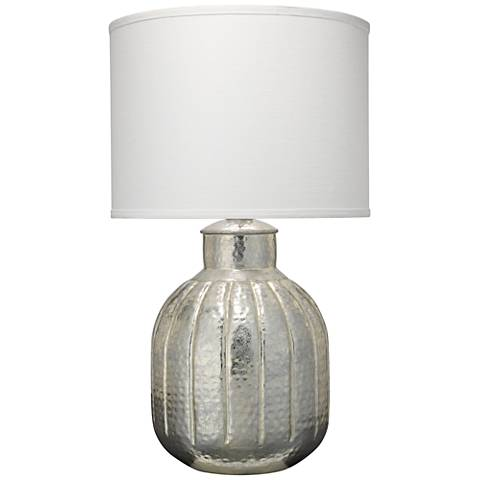 Jamie Young Zeppelin Soft Silver Ribbed Glass Table Lamp