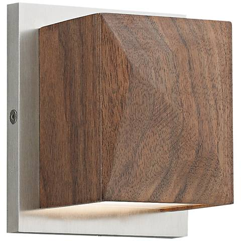 "Cafe 5""H Solid Walnut and Satin Nickel LED Wall Sconce"
