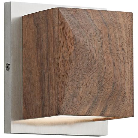 """Cafe 5""""H Solid Walnut and Satin Nickel LED Wall Sconce"""