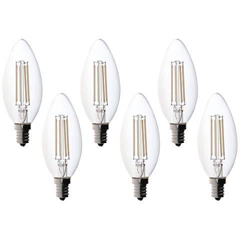 Bioluz 4.5 Watt LED Filament E12 Candelabra Bulb Pack of 6