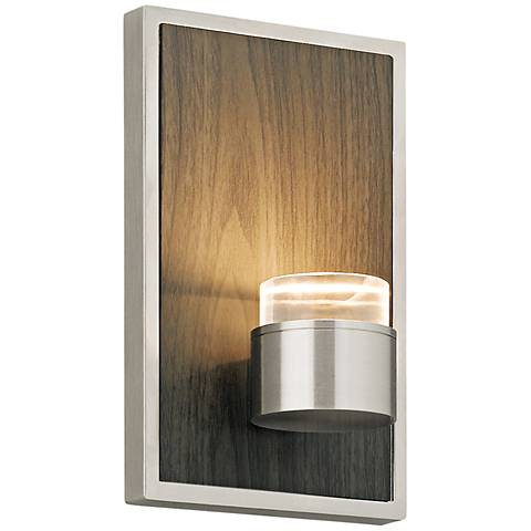 """Dobson 7""""H Weathered Gray Oak and Satin Nickel LED Sconce"""