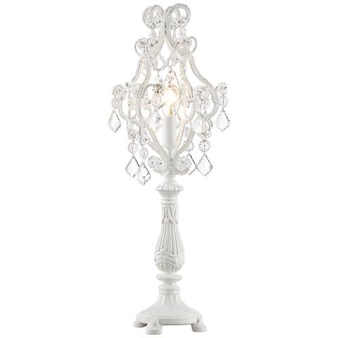"""Fay White Finish 9 1/2"""" High Crystal Candelabra Table Lamp"""