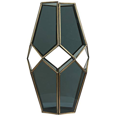 "Helix I Brass and Glass 13"" High Modern Geometric Vase"