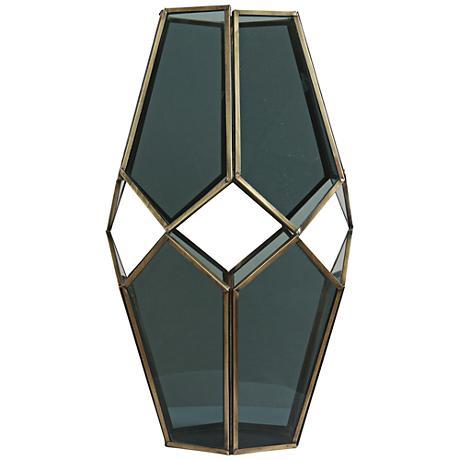 "Helix I Brass and Glass 13"" High Modern Geometric Vase"