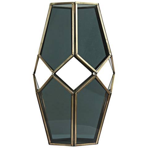 "Helix II Brass and Glass 11"" High Modern Geometric Vase"
