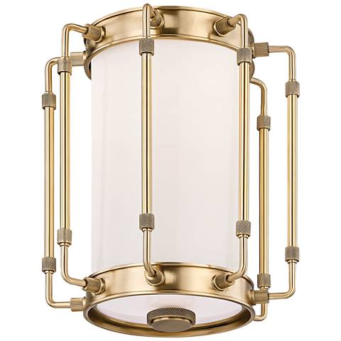 "Hyde Park 8 1/2"" Wide Aged Brass LED Ceiling Light"