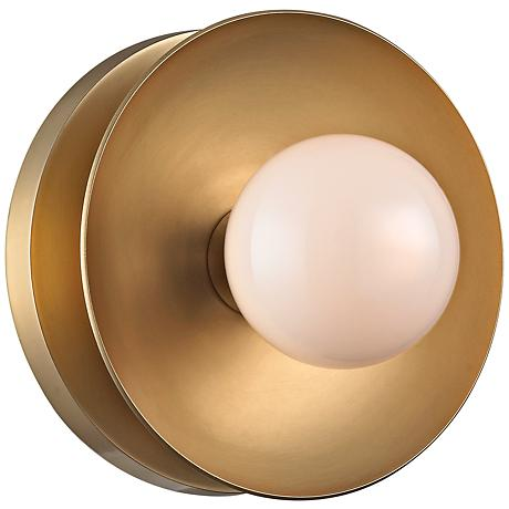 "Hudson Valley Julien 4 3/4""H Aged Brass LED Wall Sconce"